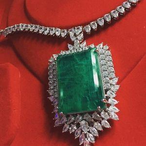 Luxury Oversized Simulated Emerald n CZ Necklace